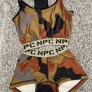 NPC sports bra and shorts set